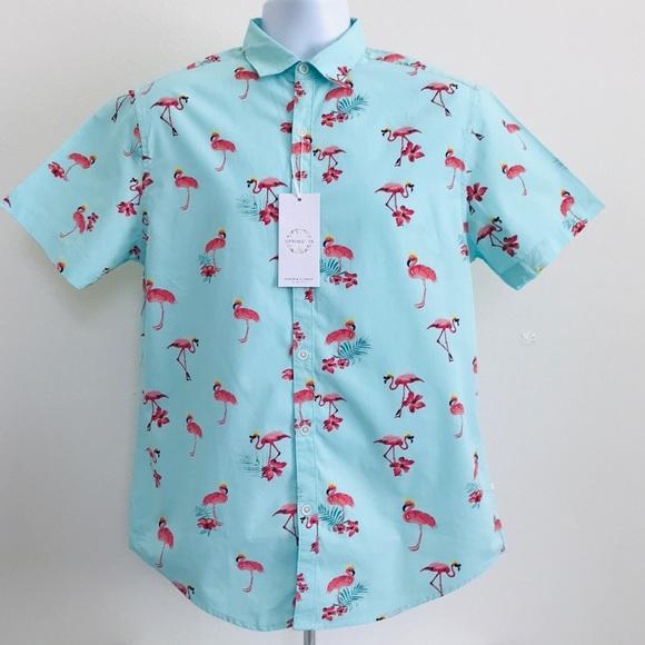 Flamingos in Sunglasses Mens Button Down Short Sleeve Shirt
